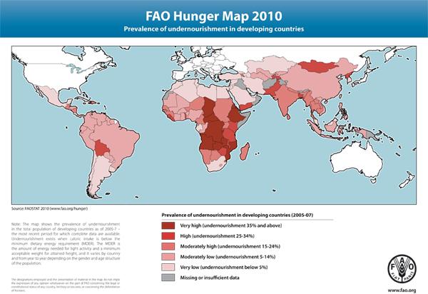 carte de la faim dans le monde 2010, site de la FAO