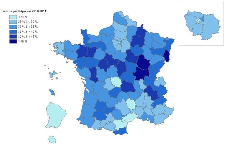 Taux de participation au PN DO CCR en 2010-2011
