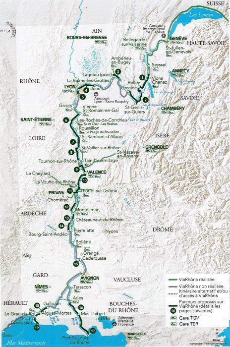 Carte des 19 parcours ViaRhôna