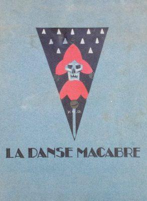 Première de couverture. La Danse Macabre de Pierre Mac Orlan, illustrée par Yan B. Dyl. Ed. Simon Kra, 1927. In-folio, sur papier vélin