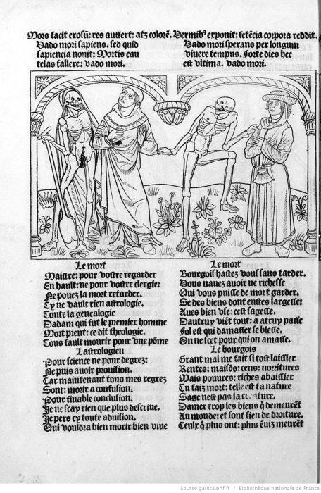 Danse macabre des hommes. Un astrologue et un bourgeois BNF, Res Ye 189/Microfilm R 1760 Cop. © Gallica.bnf.fr / Bibliothèque Nationale de France
