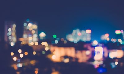 Blurred motion of city lights
