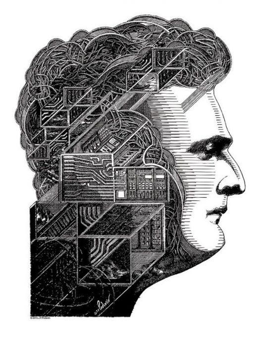 dessin représentant Robert Moog de profil