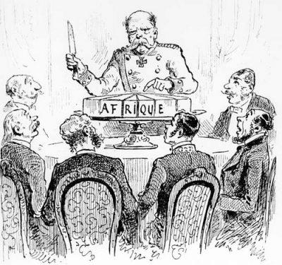 La conférence de Berlin : le chancelier Bismarck partageant le gâteau africain. Caricature de Draner pour l'Illustration, 1885
