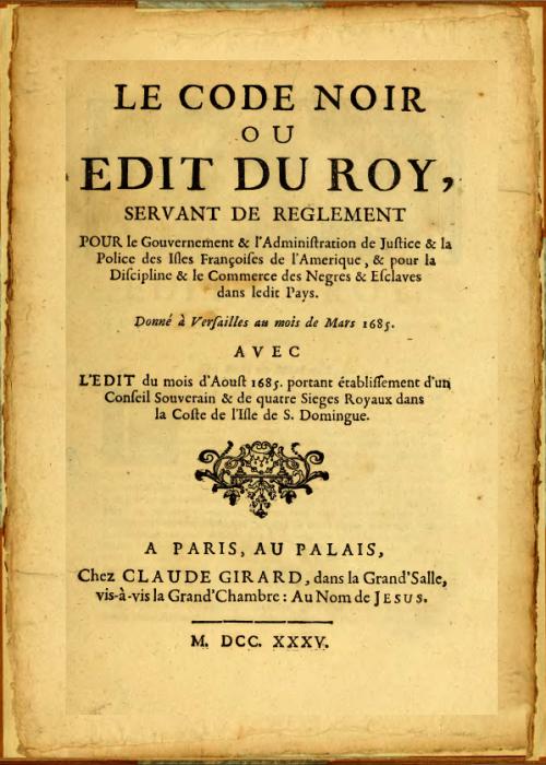 Première page du Code Noir dans sa version de 1685