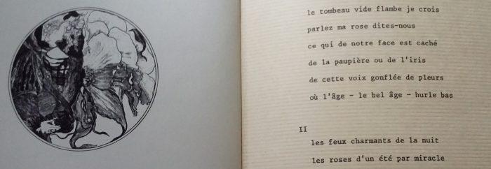 gravure et extrait d'un poème autour de la rose