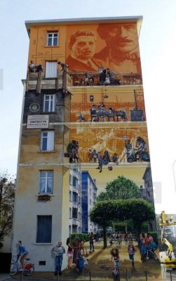 """Mur peint """"Les temps de la Cité"""
