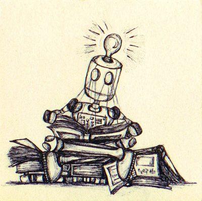 dessin d'robot en train de lire, assis sur une pile de livres