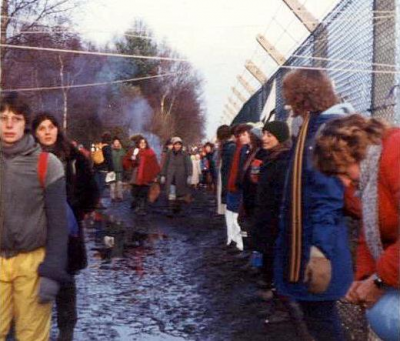 Le campement de Greenham Common le 12 décembre 1982.