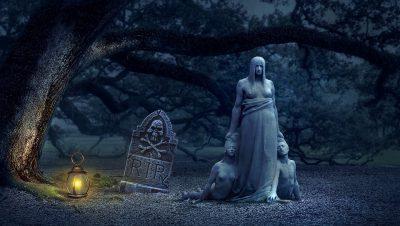 une tombe où est inscrit RIP, acronyme de Requiescat in pace (Qu'il/elle repose en paix). Une statue antique représente une grande femme traînant au sol et par les cheveux deux individus nus visiblement morts.