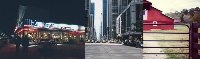 plusieurs images représentant les états unis : un dinner, une rue de New-York et une ferme