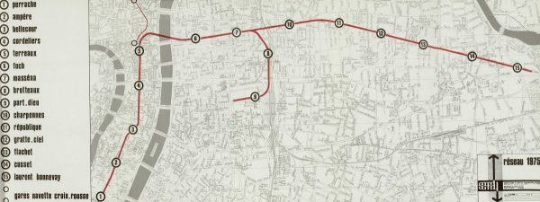 Plan de la première tranche du métro de Lyon figurant dans l'avant-projet de 1970.