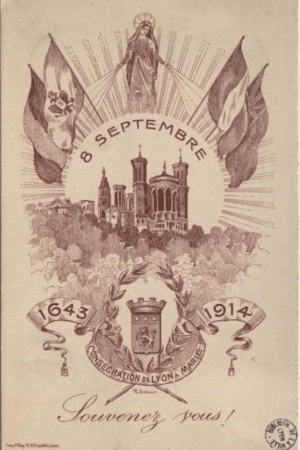 Carte postale commémorant le voeu des échevins de Lyon