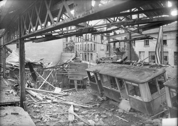 Dépôt de trams de la rue des Culattes bombardé