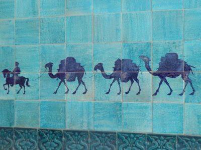 Khiva, mosaïque de la route de la soie