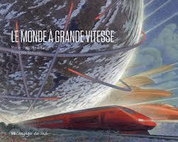 un dessin de train à grande vitesse avec une planète imaginaire en fond de ciel