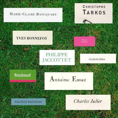 herbe verte sur laquelle sont inscrits de toutes les couleurs les noms des poètes cités