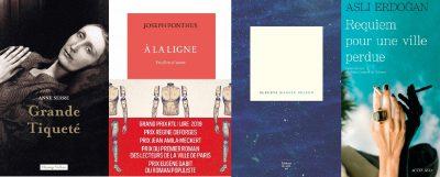 couverture des romans cités d'Anne Serre, Joseph Ponthus, Maggie Nelson et Asli Erdogan