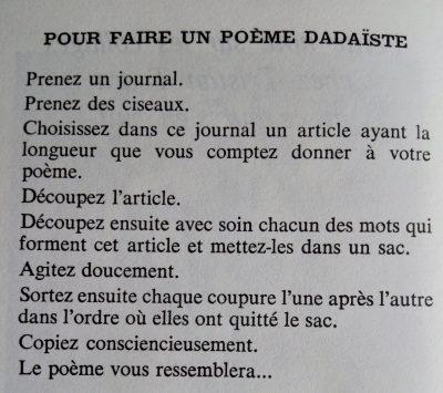 recette pour faire un poème dadaïste écrite par Tristan Tzara