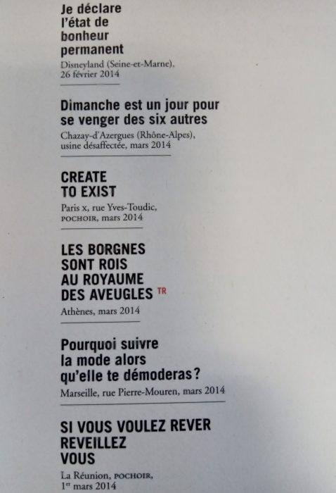 extrait du livre Tiens ils ont repeint ! avec quelques exemples de tags et grafittis à Marseille, Athènes...