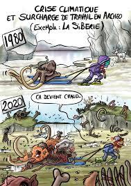 En 1980 la Sibérie est encore gelée, l'archéologue tire un crâne de mammouth sur son traîneau. 2020 la glace a fondu, partout des restes d'animaux.